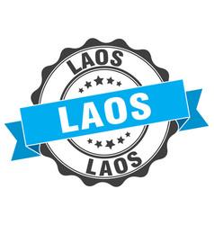 Laos round ribbon seal vector