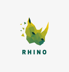 logo rhino low poly color style vector image