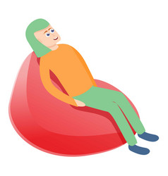 Man rest on beanbag icon cartoon style vector