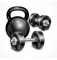 Metallic kettle bell and two vector