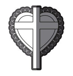 monochrome silhouette heart decorative frame with vector image