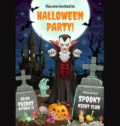 night horrors vampire dracula halloween party vector image