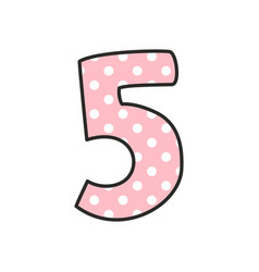 Number 5 with white polka dots on pastel pink vector