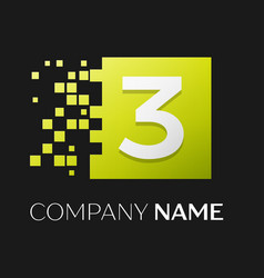 number three symbol in the colorful square vector image