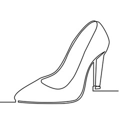 one line drawing of women high heel shoe vector image