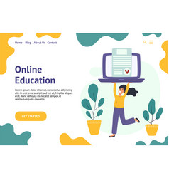 online education banner with a girl holding laptop vector image