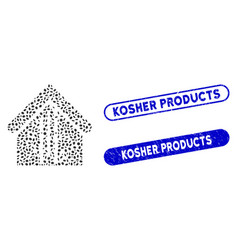 Oval mosaic bamboo house with distress kosher vector