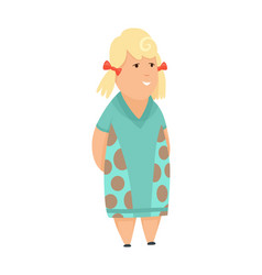 overweight blond little girl fat girl healthy vector image
