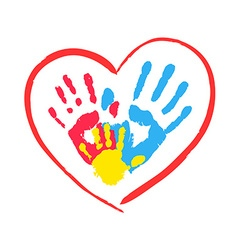 Parents and kids hands in a heart vector