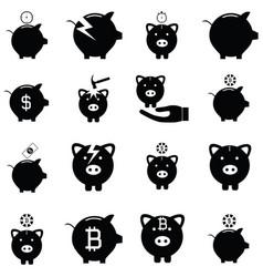 piggy bank icon set vector image