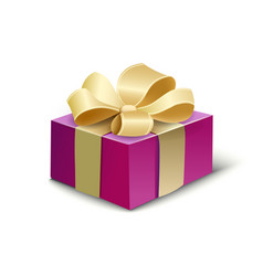 purple gift box with a red ribbon and a bow vector image