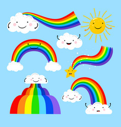 rainbows and clouds elements vector image