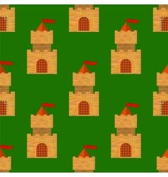 Red Brick Castle Seamless Pattern on Green vector