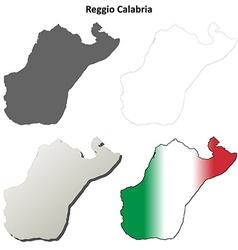 Reggio calabria blank detailed outline map set vector