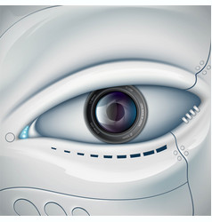 robot face with the camera lens in the eye vector image