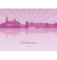 Salamanca skyline in purple radiant orchid vector image