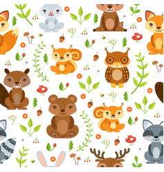 Seamless pattern of forest animals and vector