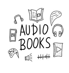 Set audio books symbols vector