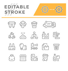 set editable stroke line icons trash vector image
