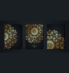 set gold mandala greeting cards black background vector image