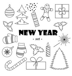 set of black-and-white new years elementswhite vector image
