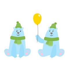 set of cartoon polar bears with hat an scarf vector image