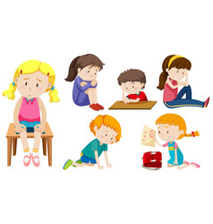 Set of depressed children vector
