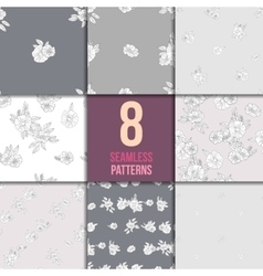 Set of eight black and white floral patterns vector