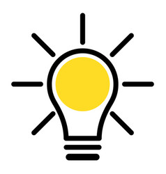 Simple icon light bulb vector
