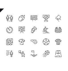 simple set soccer line icons for website vector image