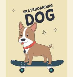 Skateboarding dog for t-shirt and print design vector