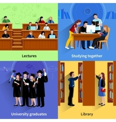 Studying Students 2x2 Design Concept vector