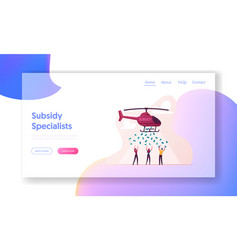 Subsidy governmental help to people landing page vector