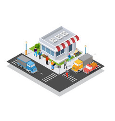 supermarket shopping 3d commercial center with vector image