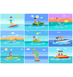 surfing summer collection vector image
