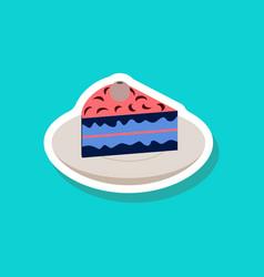 Sweet dessert in paper sticker berry pie vector