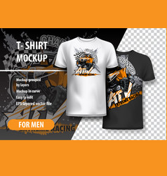 T-shirt template fully editable with orange atv vector