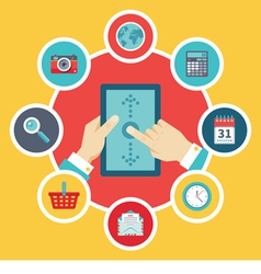Tablet PC with Hands and Icons - Flat Style vector image