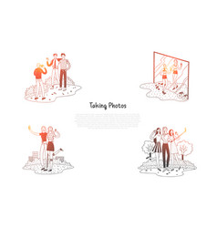 taking photos - people making photos and vector image