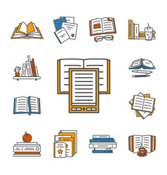 Thin lined book icons set vector