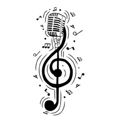 treble clef music note as musical microphone vector image