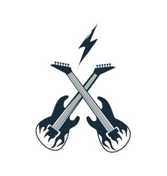 two crossed electric guitar vector image