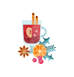 Vitamin healthy herbal tea spicy drink with apple vector