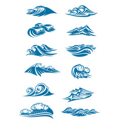 Waves icons of ocen water wave blue splash vector