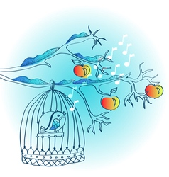 winter background with cage and bird vector image vector image