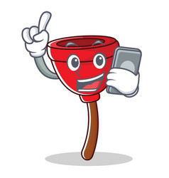 with phone plunger character cartoon style vector image