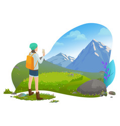 woman filming mountain landscape on smartphone vector image
