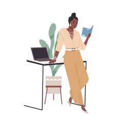 woman reading book at office desk happy reader vector image