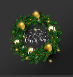 year 3d gold ornament wreath card vector image