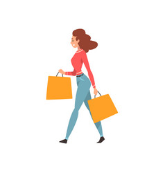 young beautiful woman with shopping bags and vector image